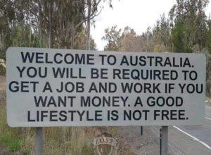 welcome to australia job sign