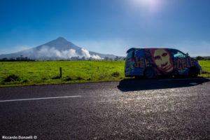 "My ""Jeff Buckely van"" and Mount Taranaki on background"